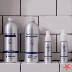 Plaine Products in the shower