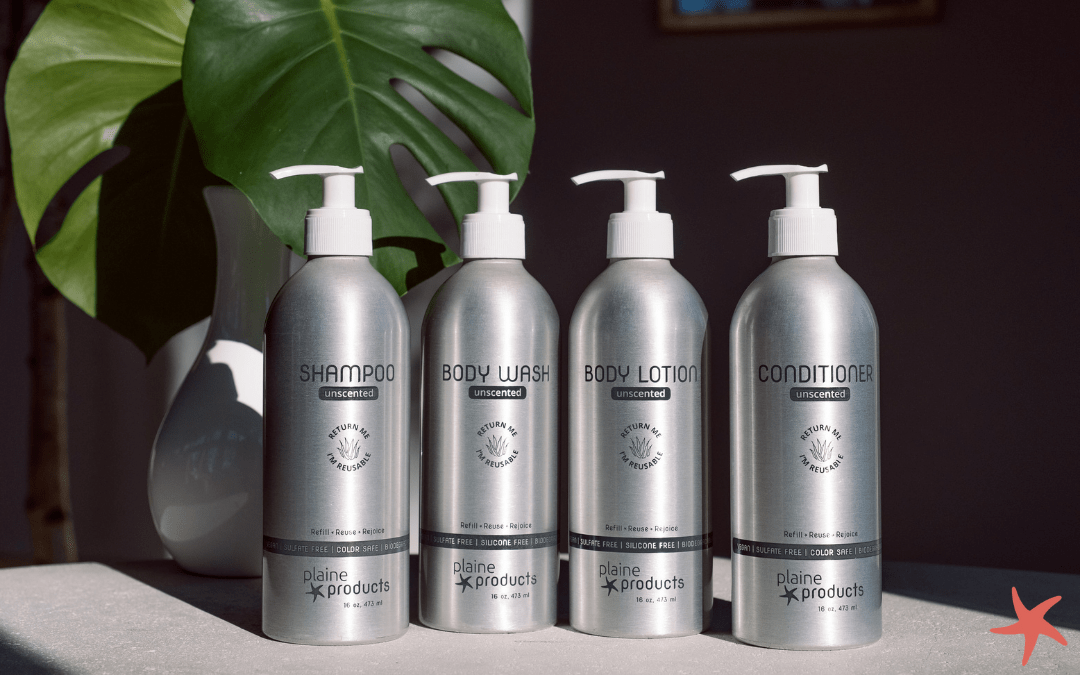 Plaine Products Unscented shampoo, conditioner, body wash and body lotion